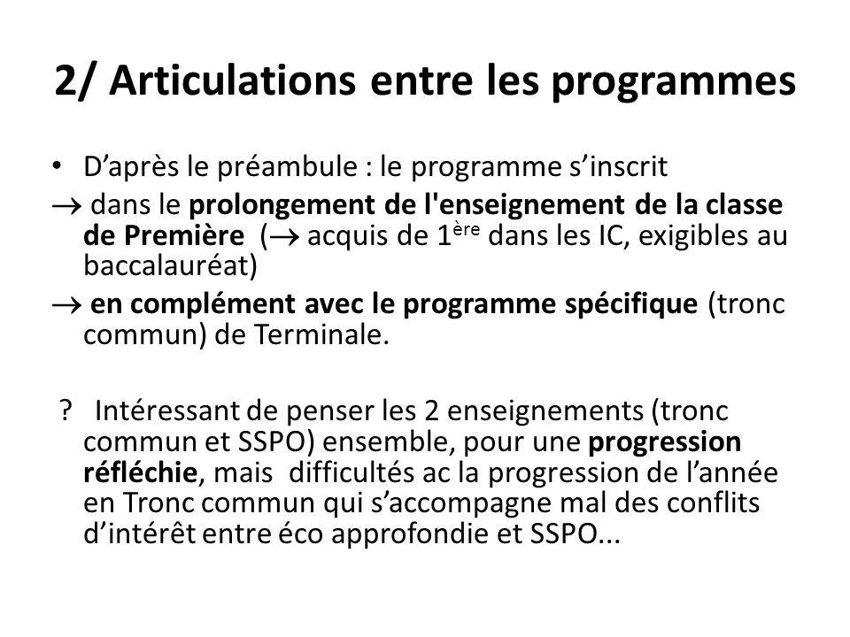 2/ Articulations entre les programmes