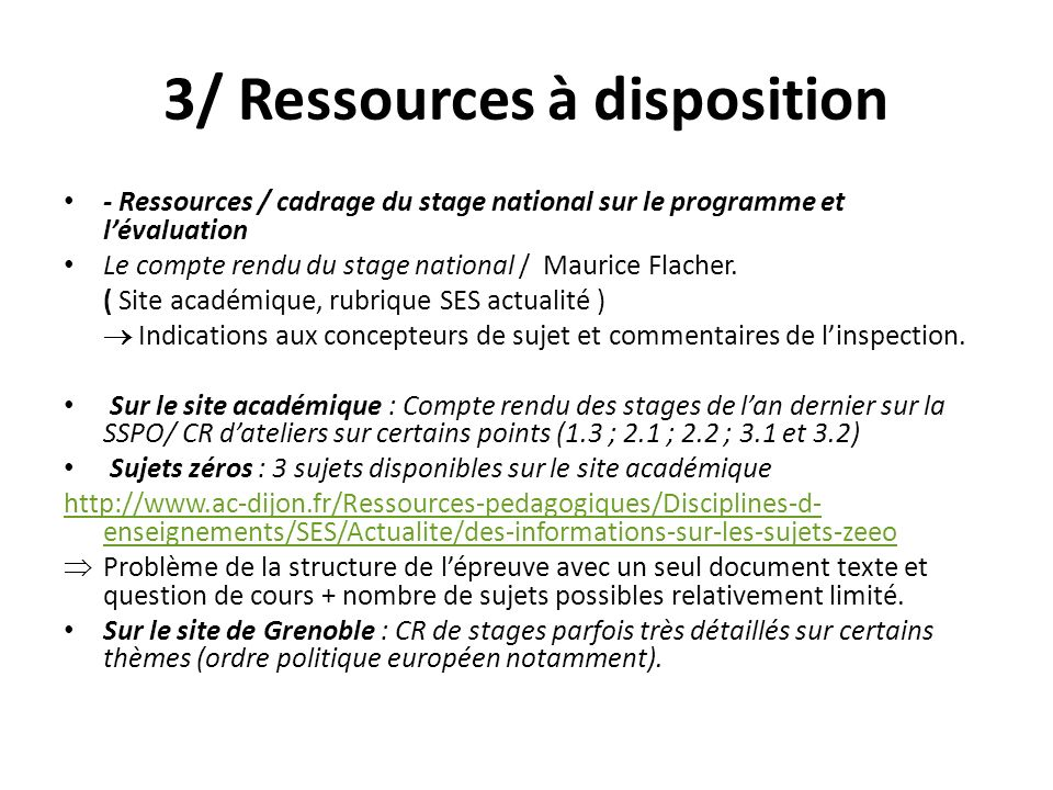 3/ Ressources à disposition