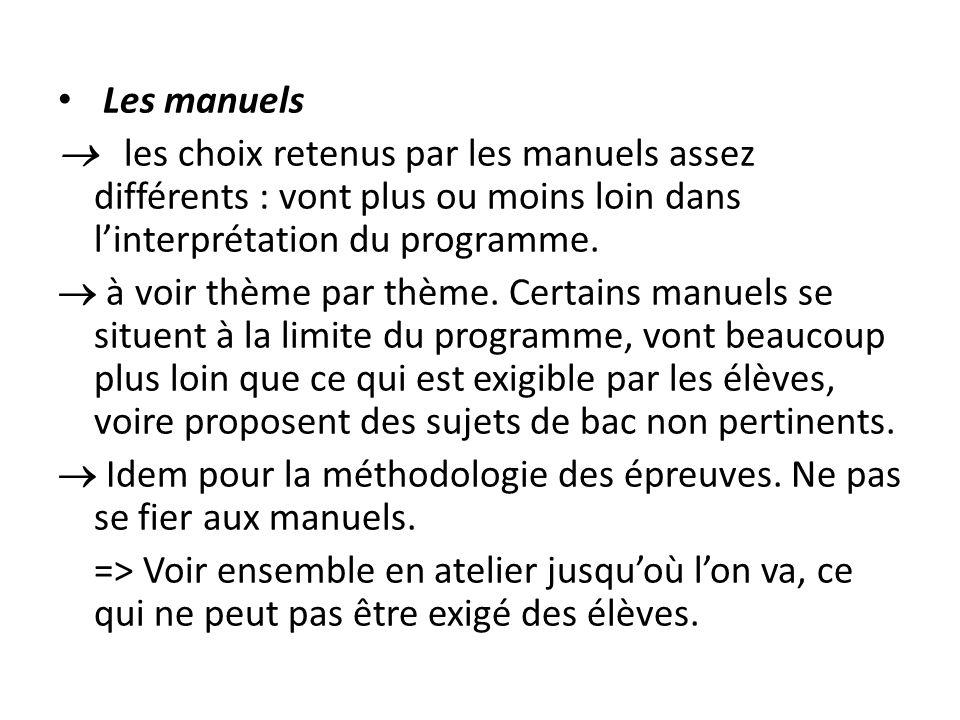 Les manuels  les choix retenus par les manuels assez différents : vont plus ou moins loin dans l'interprétation du programme.