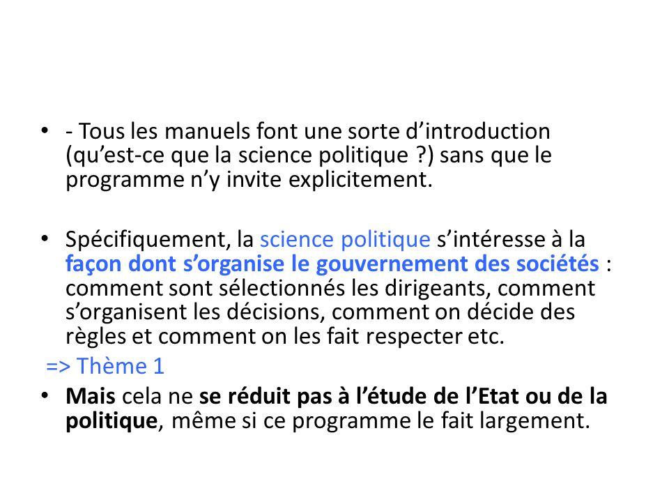 - Tous les manuels font une sorte d'introduction (qu'est-ce que la science politique ) sans que le programme n'y invite explicitement.