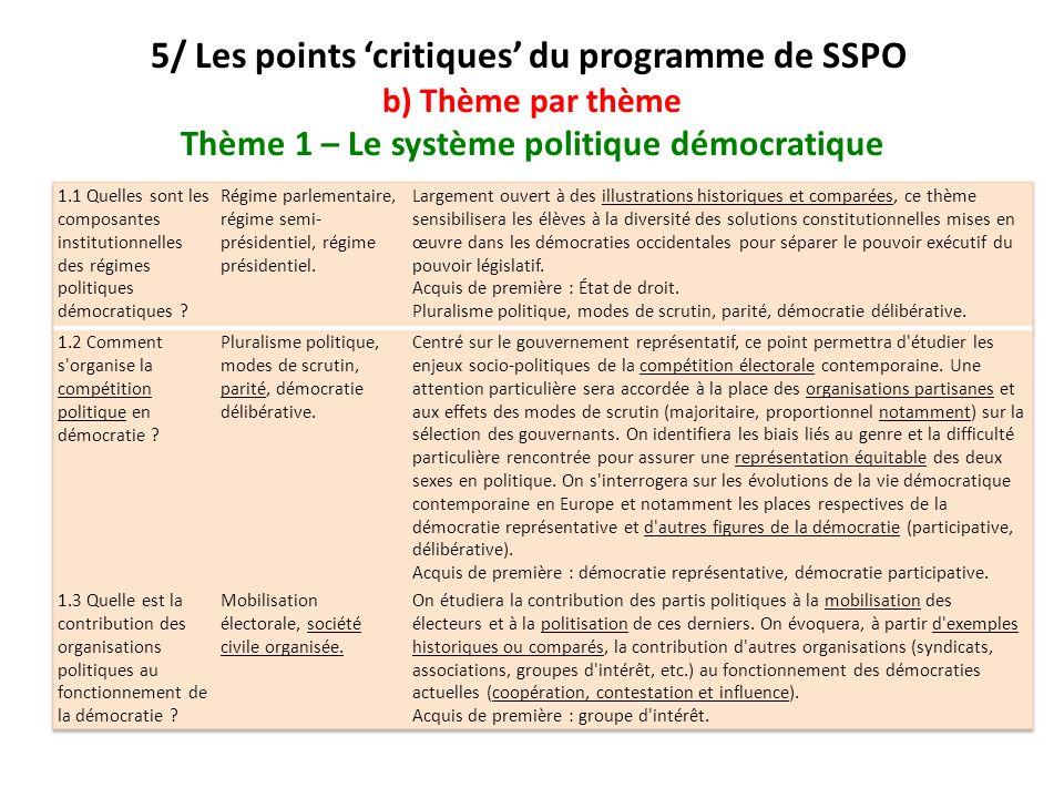 5/ Les points 'critiques' du programme de SSPO b) Thème par thème Thème 1 – Le système politique démocratique