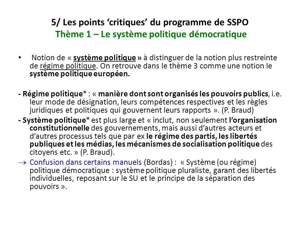 5/ Les points 'critiques' du programme de SSPO Thème 1 – Le système politique démocratique