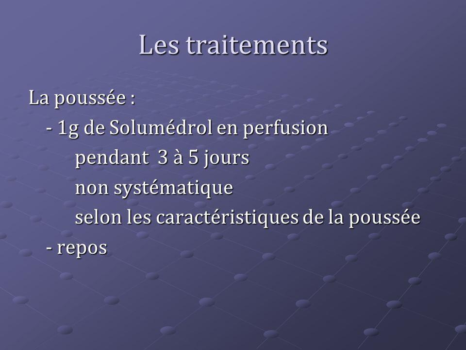 Les traitements La poussée : - 1g de Solumédrol en perfusion