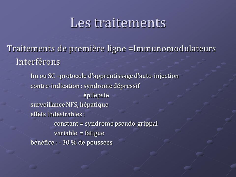 Les traitements Traitements de première ligne =Immunomodulateurs