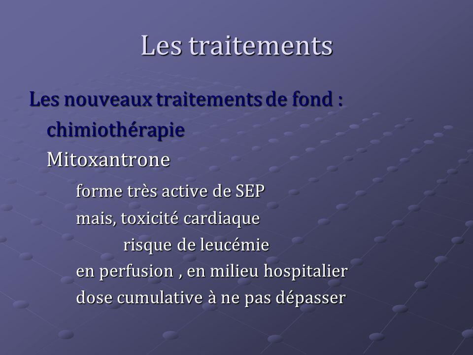 Les traitements Les nouveaux traitements de fond : chimiothérapie