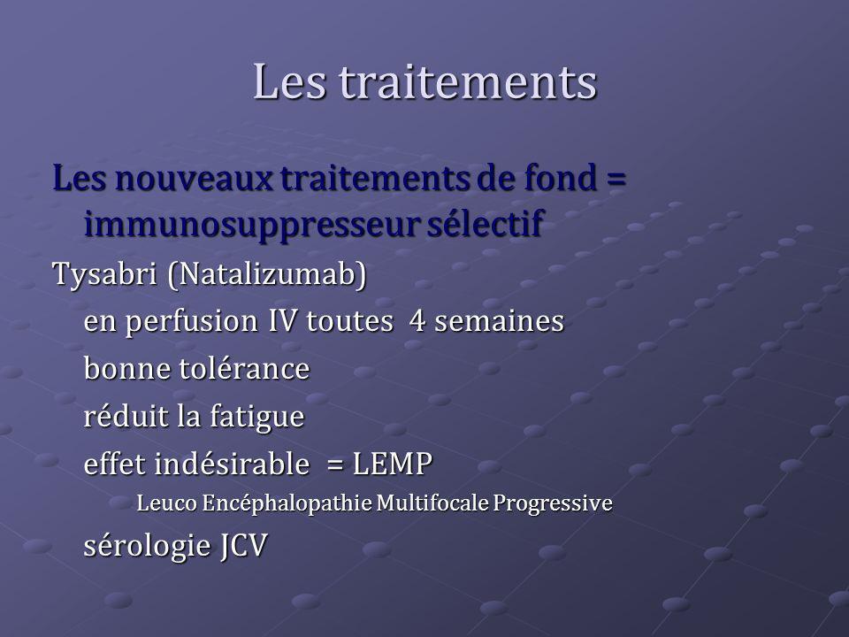 Les traitements Les nouveaux traitements de fond = immunosuppresseur sélectif. Tysabri (Natalizumab)