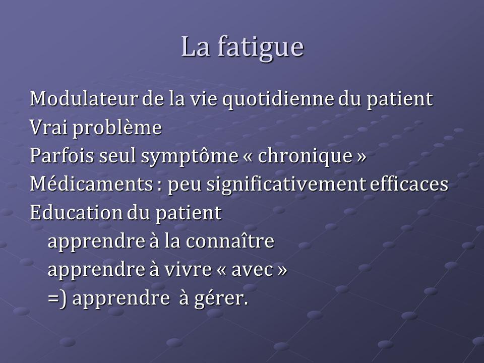 La fatigue Modulateur de la vie quotidienne du patient Vrai problème
