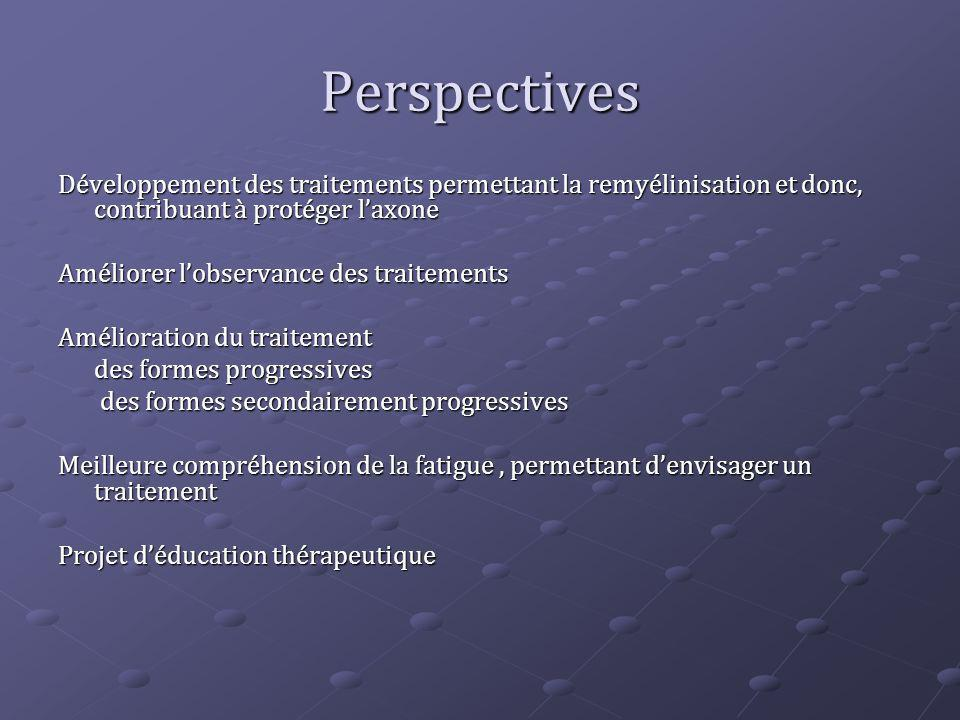 Perspectives Développement des traitements permettant la remyélinisation et donc, contribuant à protéger l'axone.