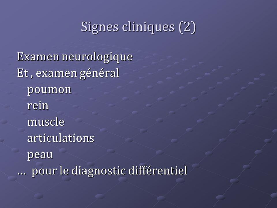 Signes cliniques (2) Examen neurologique Et , examen général poumon