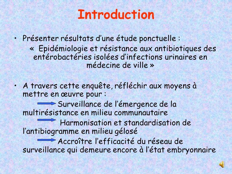Introduction Présenter résultats d'une étude ponctuelle :