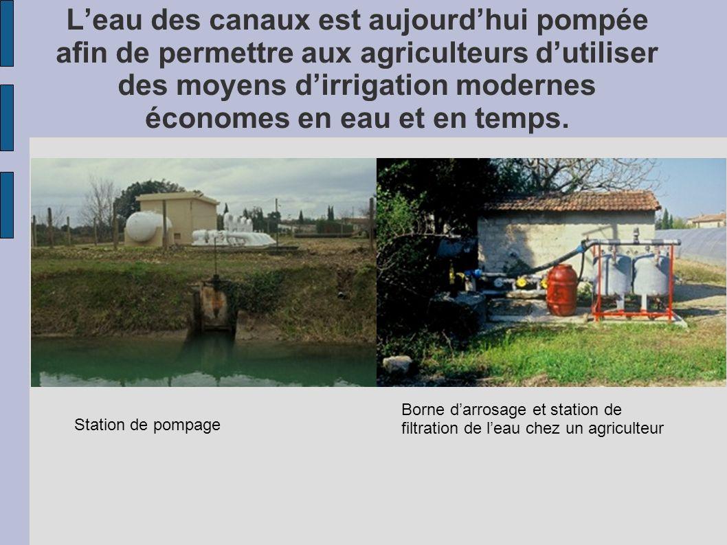 L'eau des canaux est aujourd'hui pompée afin de permettre aux agriculteurs d'utiliser des moyens d'irrigation modernes économes en eau et en temps.