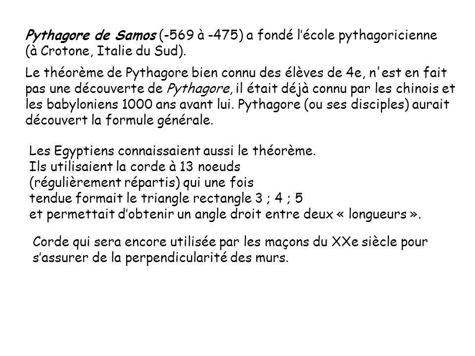Pythagore de Samos (-569 à -475) a fondé l'école pythagoricienne