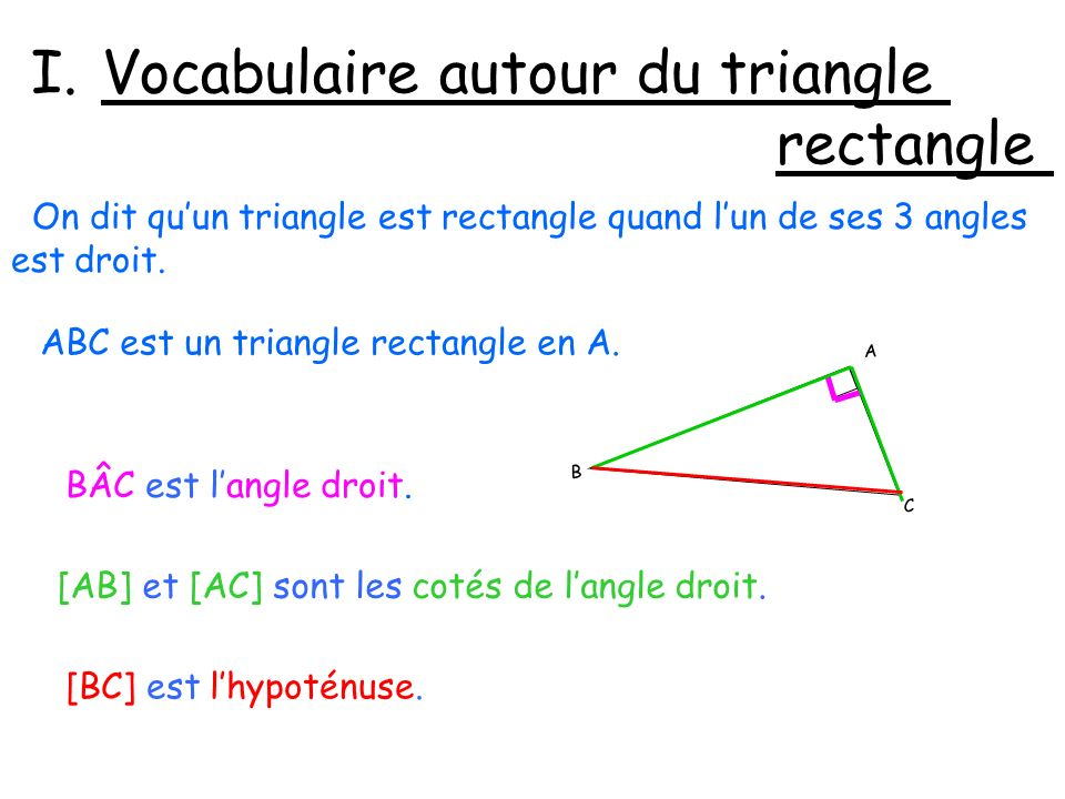 Vocabulaire autour du triangle rectangle