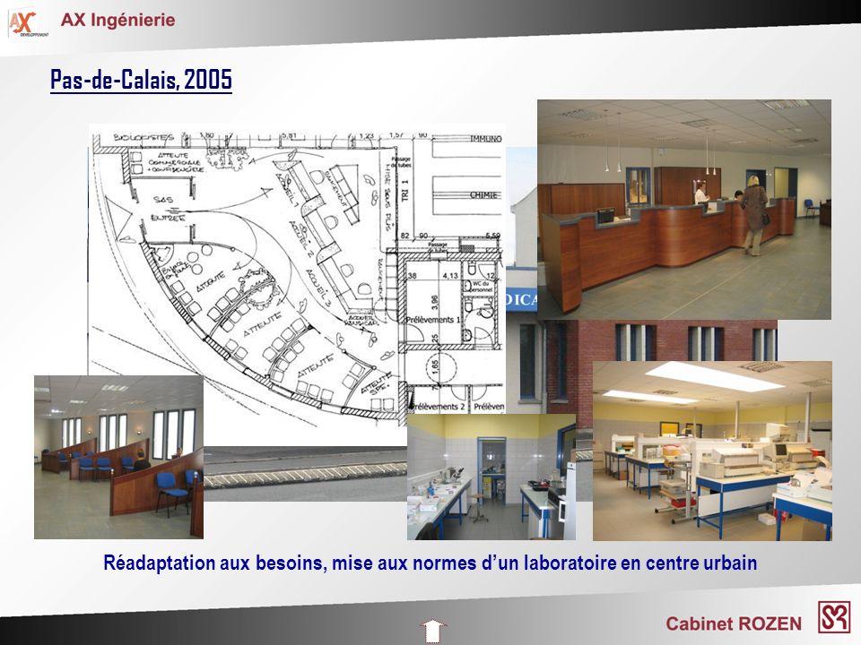 Pas-de-Calais, 2005 Réadaptation aux besoins, mise aux normes d'un laboratoire en centre urbain
