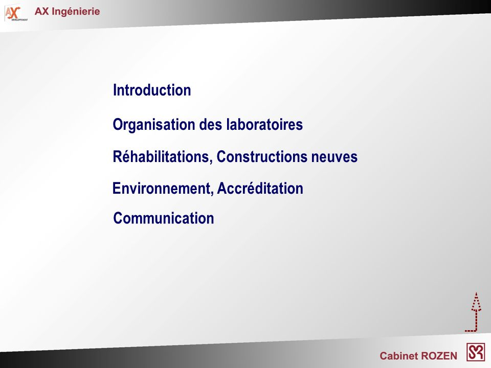 IntroductionOrganisation des laboratoires. Réhabilitations, Constructions neuves. Environnement, Accréditation.