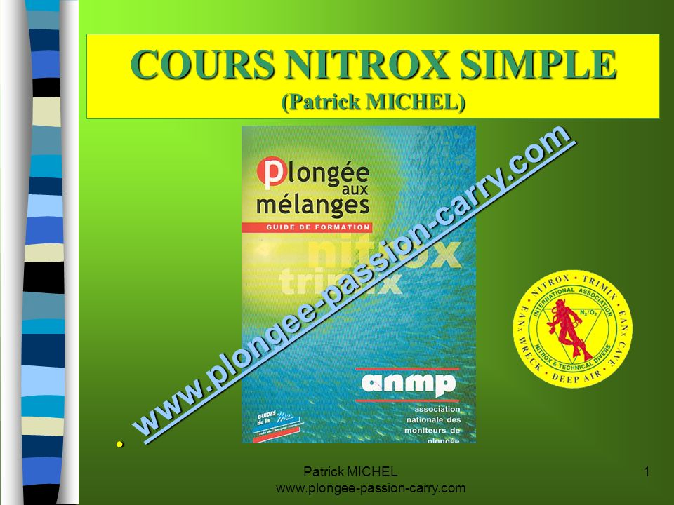 COURS NITROX SIMPLE (Patrick MICHEL)