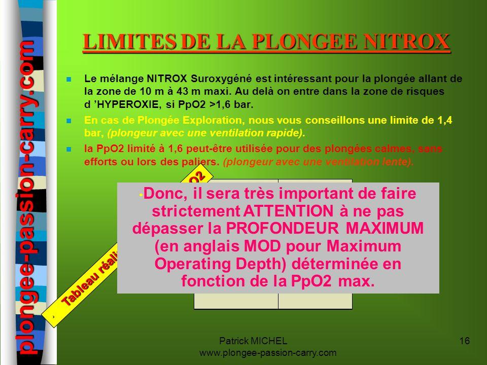 LIMITES DE LA PLONGEE NITROX