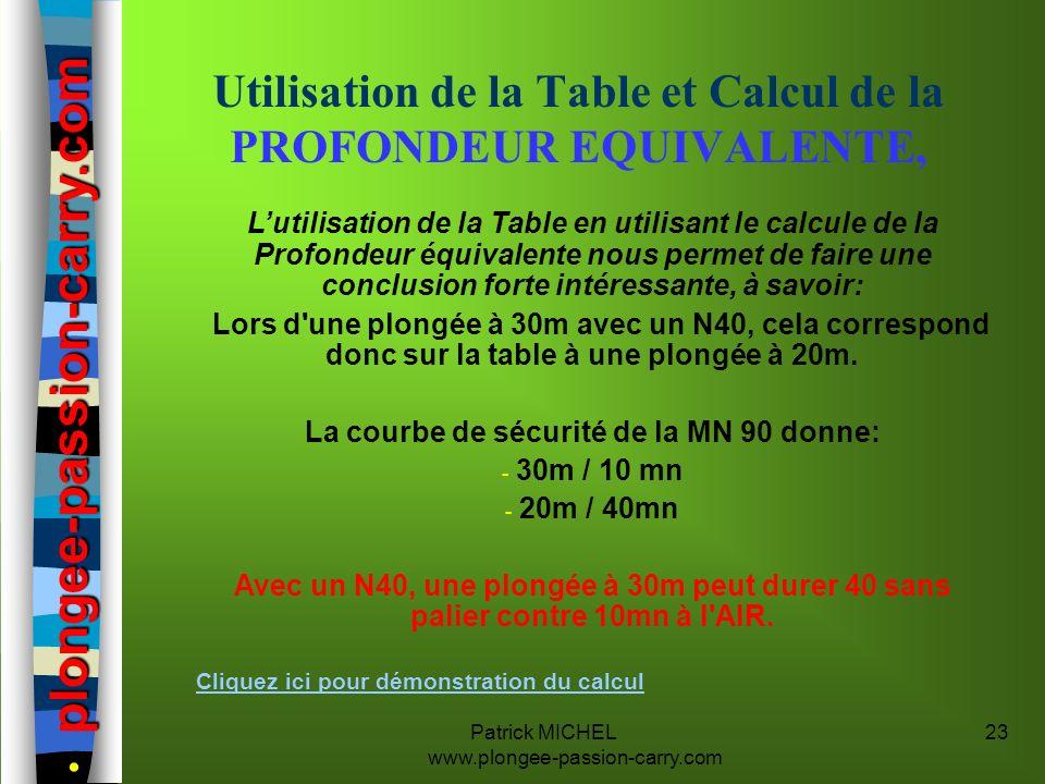 Utilisation de la Table et Calcul de la PROFONDEUR EQUIVALENTE,