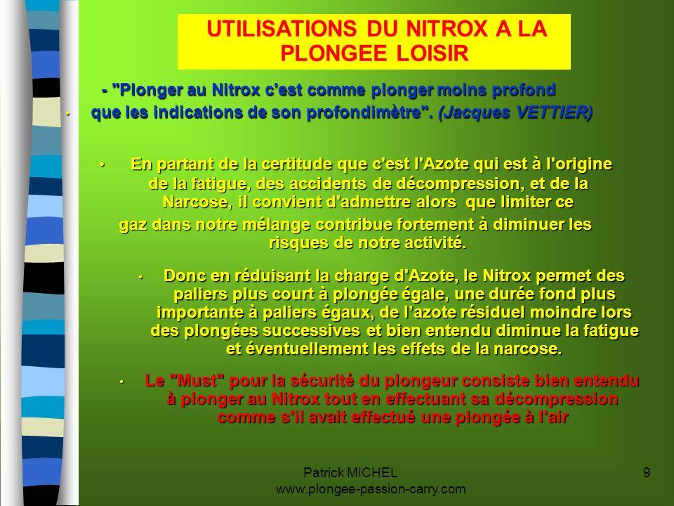 UTILISATIONS DU NITROX A LA PLONGEE LOISIR