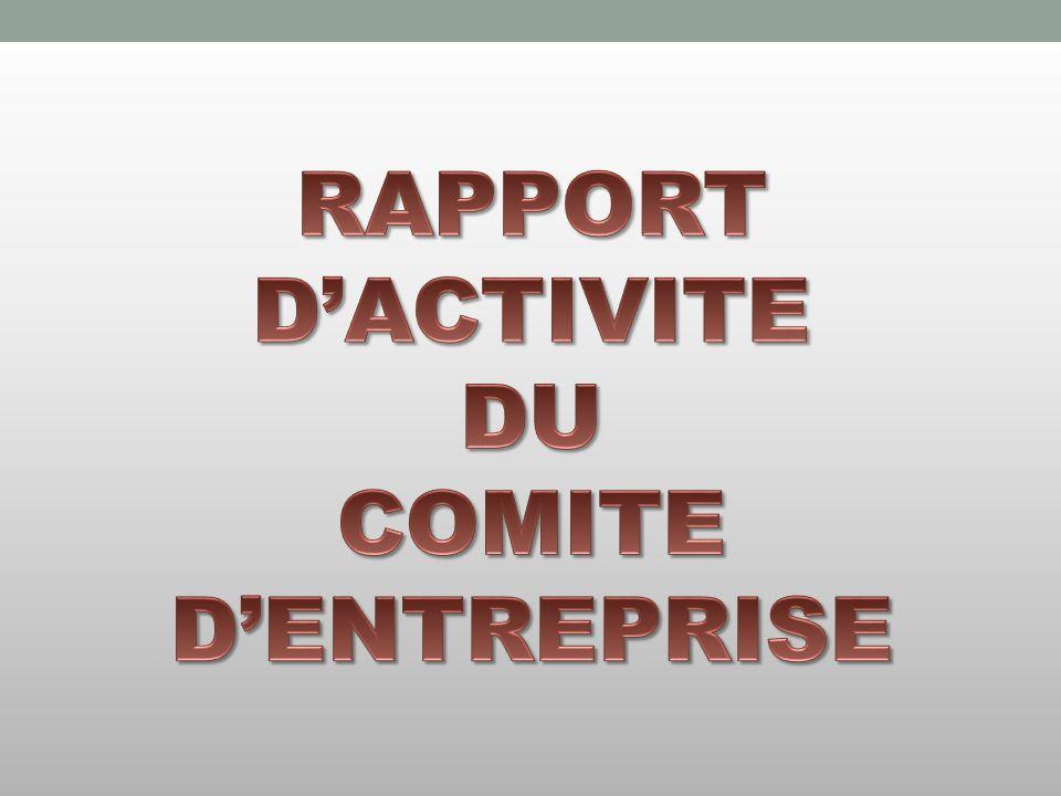 RAPPORT D'ACTIVITE DU COMITE D'ENTREPRISE
