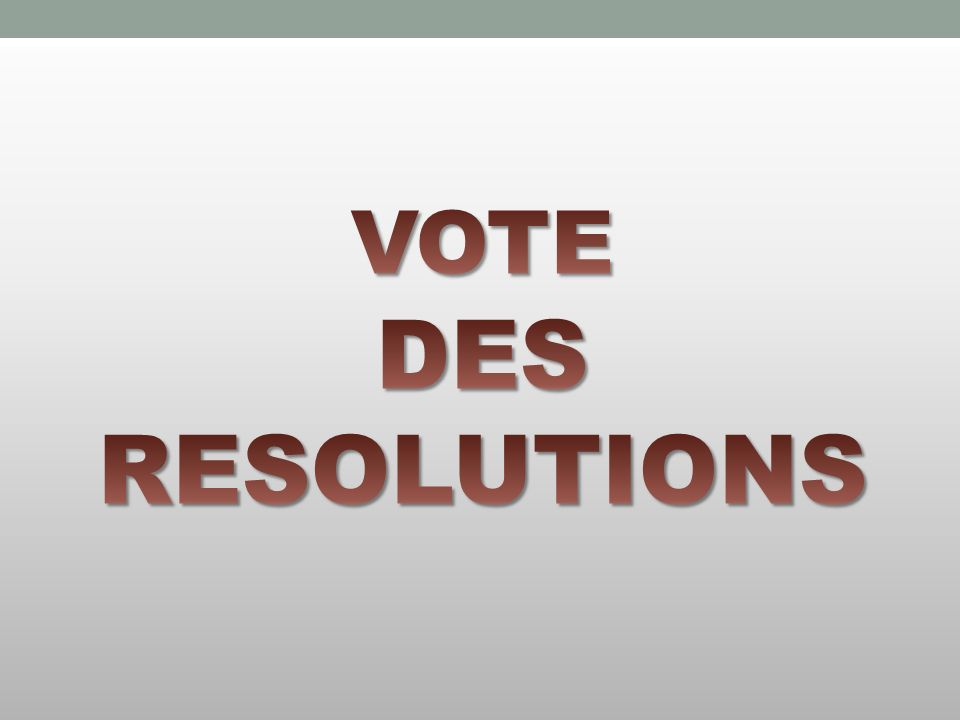 VOTE DES RESOLUTIONS