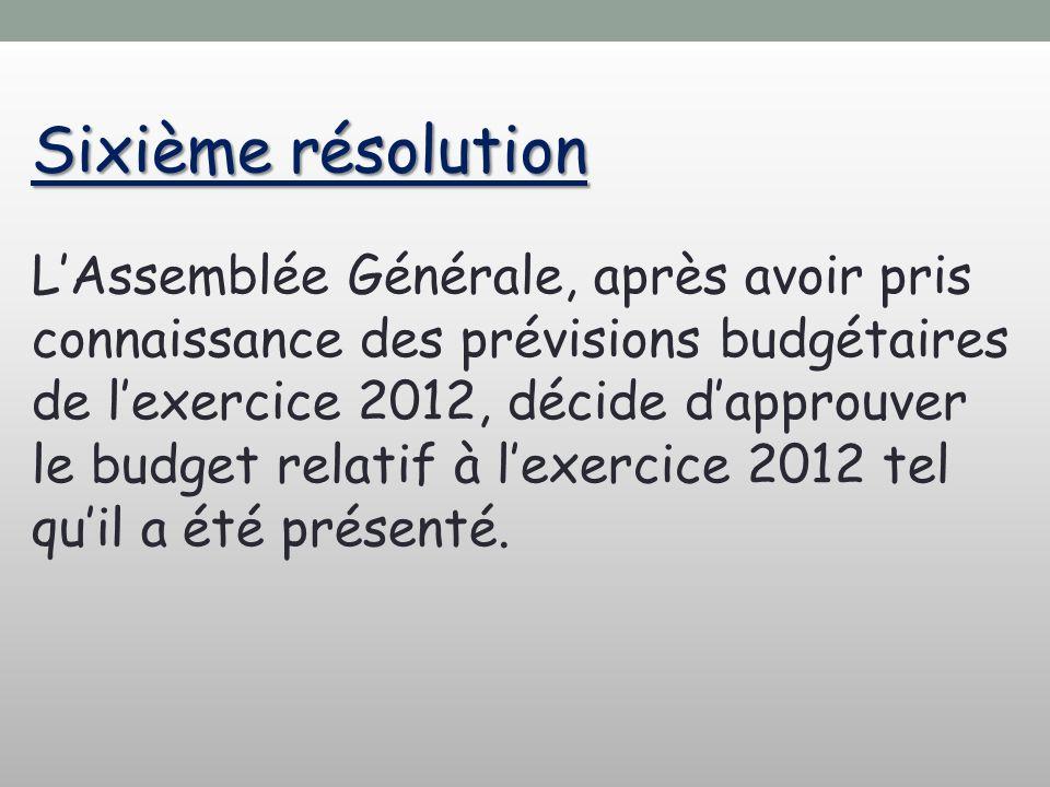 Sixième résolution