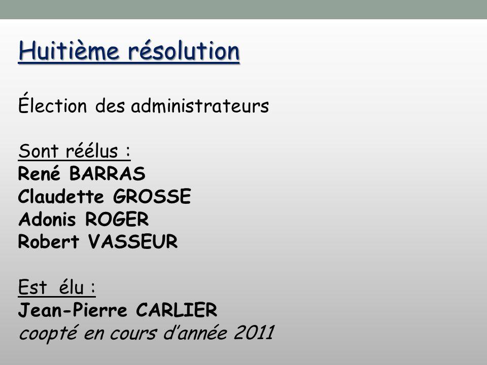 Huitième résolution Élection des administrateurs Sont réélus :
