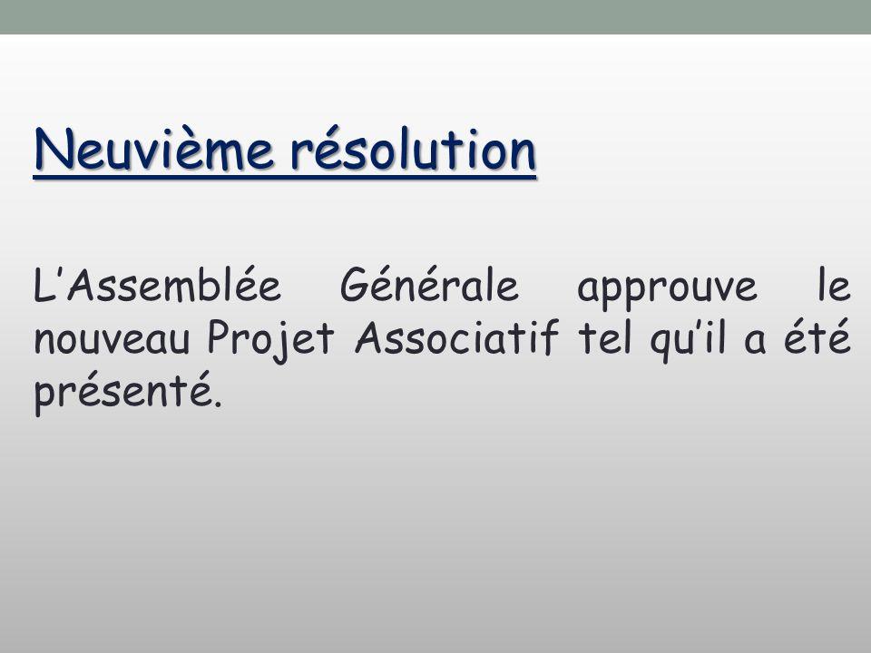 Neuvième résolution L'Assemblée Générale approuve le nouveau Projet Associatif tel qu'il a été présenté.