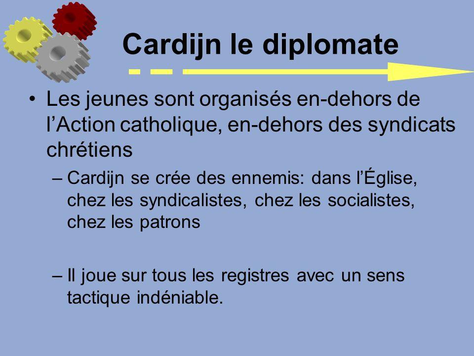 Cardijn le diplomate Les jeunes sont organisés en-dehors de l'Action catholique, en-dehors des syndicats chrétiens.