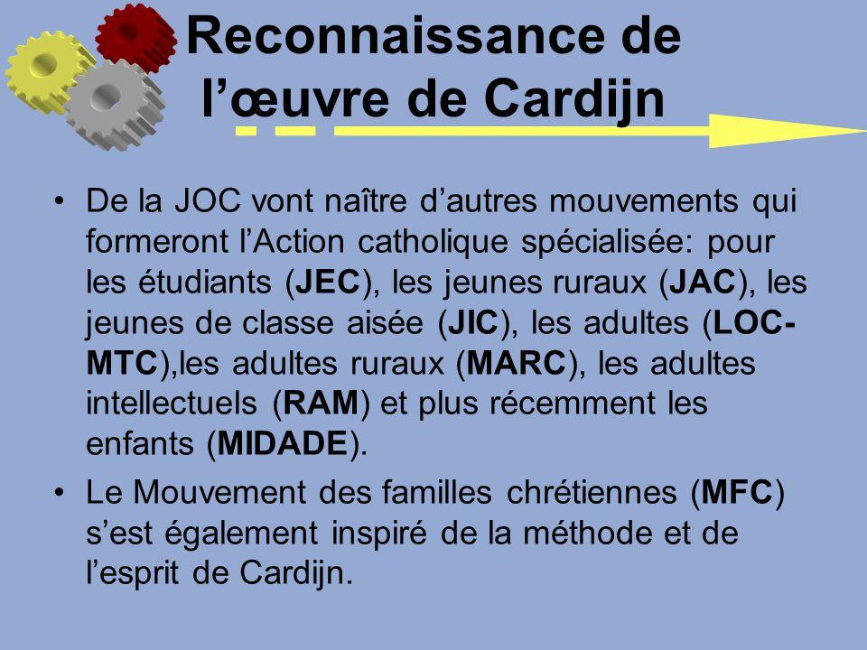 Reconnaissance de l'œuvre de Cardijn