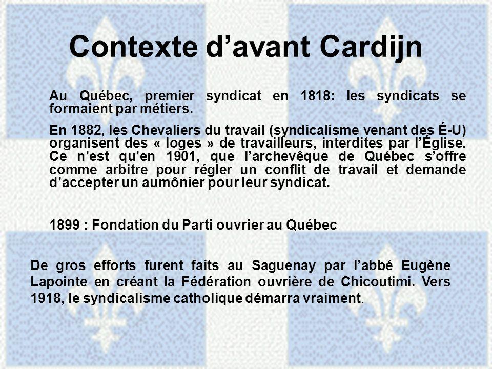 Contexte d'avant Cardijn