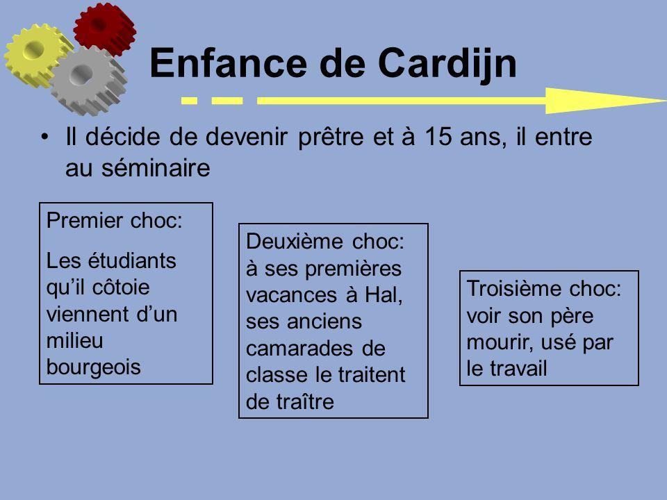 Enfance de Cardijn Il décide de devenir prêtre et à 15 ans, il entre au séminaire. Premier choc: