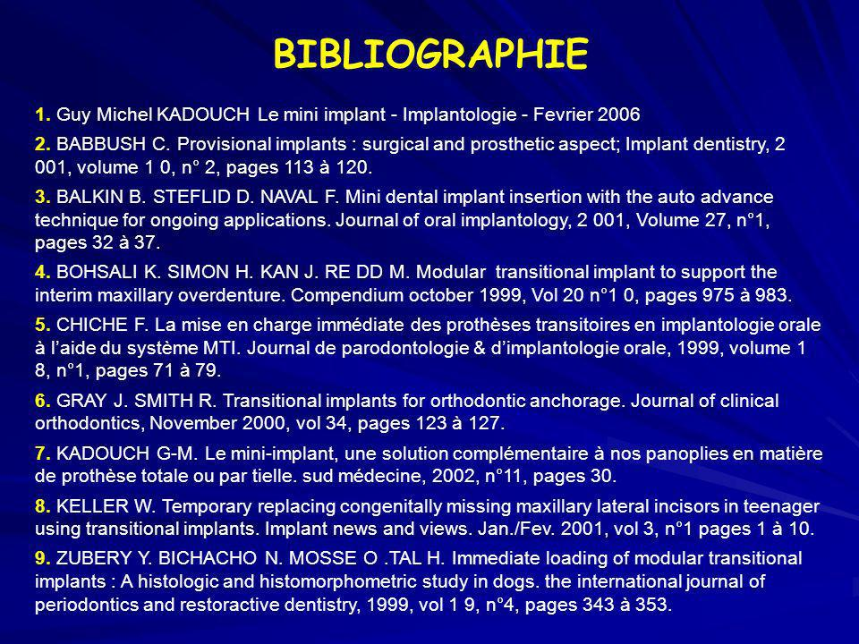 BIBLIOGRAPHIE 1. Guy Michel KADOUCH Le mini implant - Implantologie - Fevrier 2006.