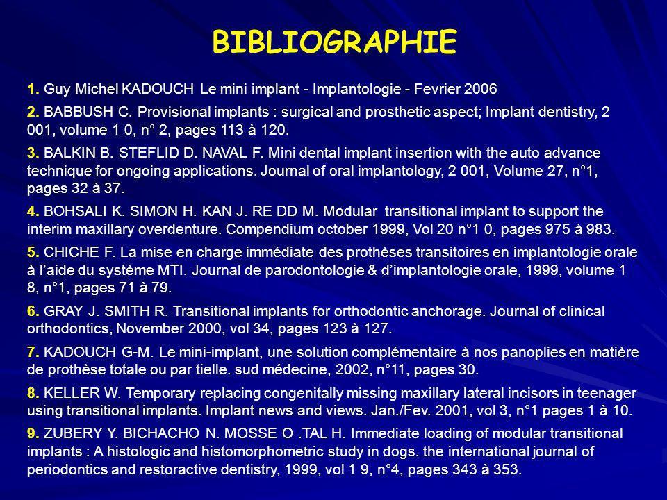 BIBLIOGRAPHIE1. Guy Michel KADOUCH Le mini implant - Implantologie - Fevrier 2006.