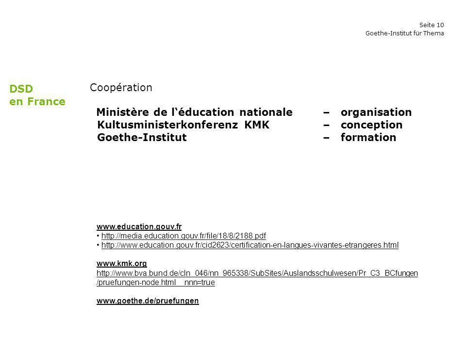 Kultusministerkonferenz KMK – conception Goethe-Institut – formation