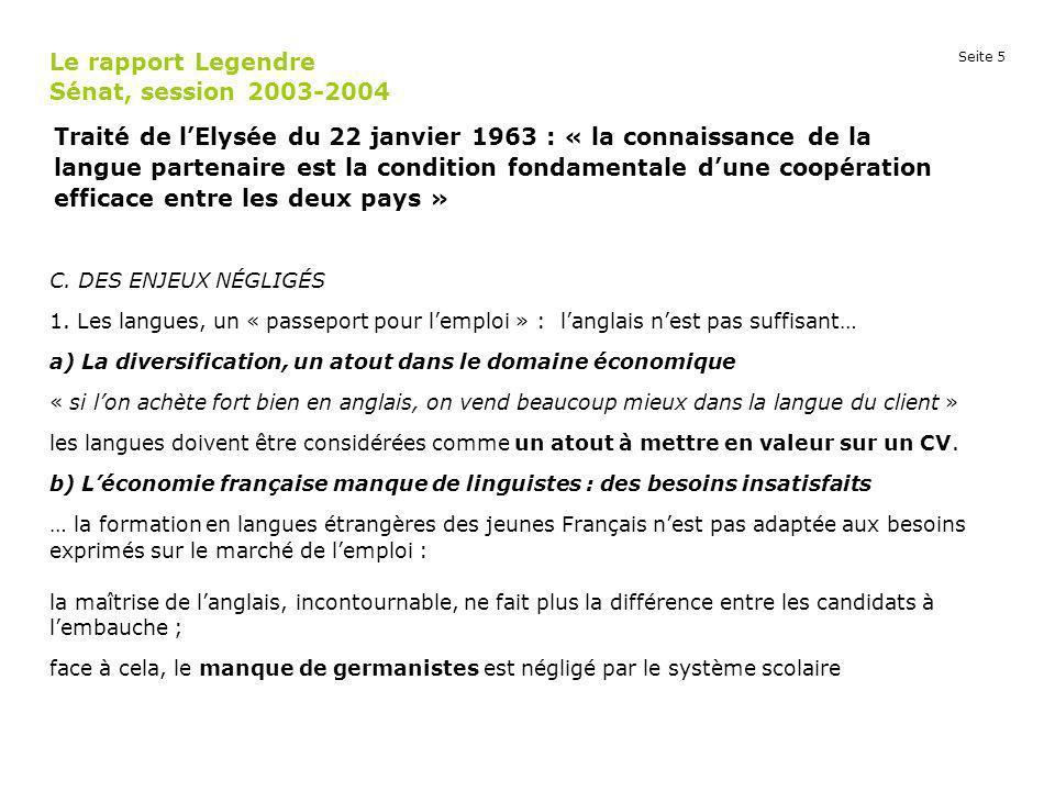 Le rapport Legendre Sénat, session 2003-2004