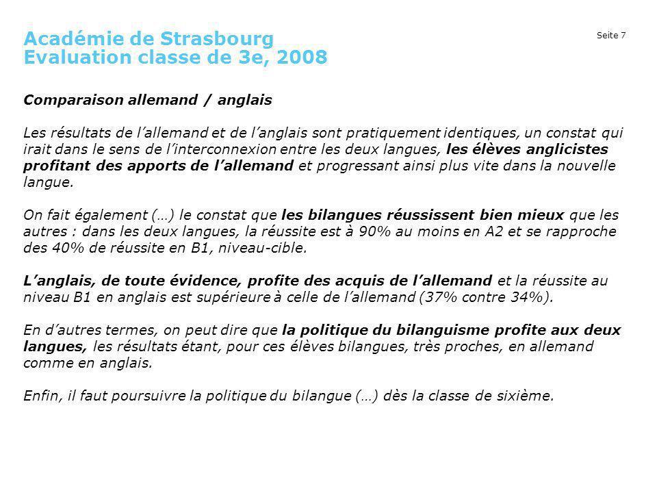 Académie de Strasbourg Evaluation classe de 3e, 2008