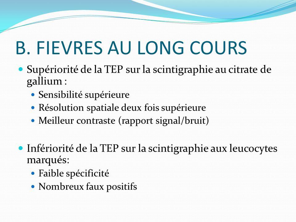 B. FIEVRES AU LONG COURS Supériorité de la TEP sur la scintigraphie au citrate de gallium : Sensibilité supérieure.