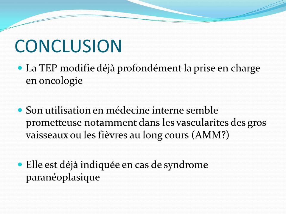 CONCLUSION La TEP modifie déjà profondément la prise en charge en oncologie.