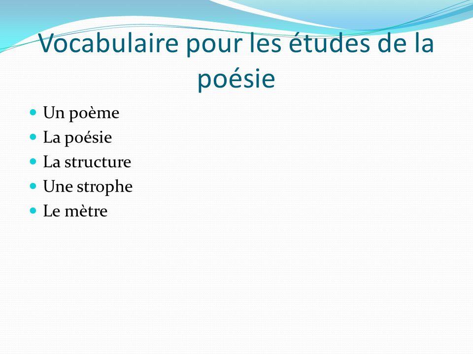 Vocabulaire pour les études de la poésie