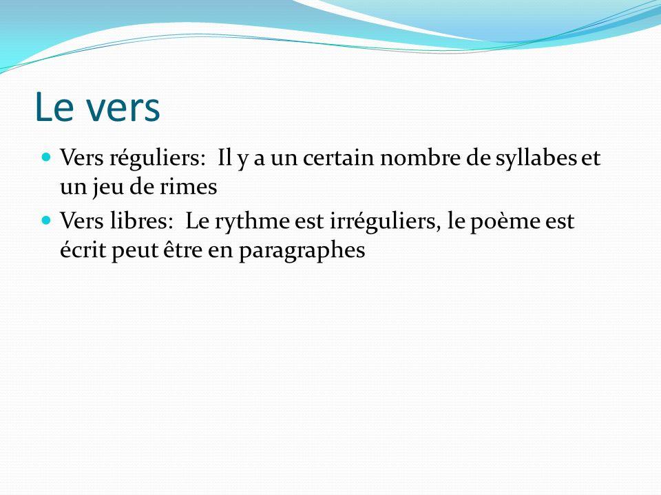 Le vers Vers réguliers: Il y a un certain nombre de syllabes et un jeu de rimes.
