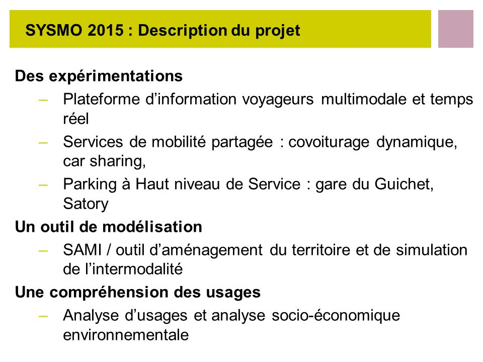 SYSMO 2015 : Description du projet