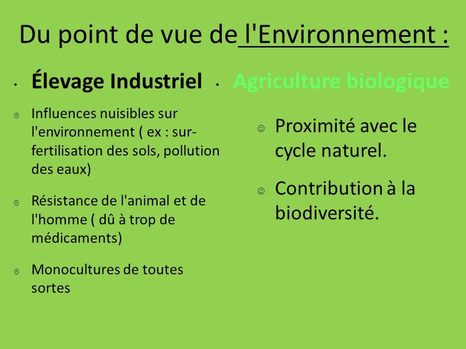 Du point de vue de l Environnement :