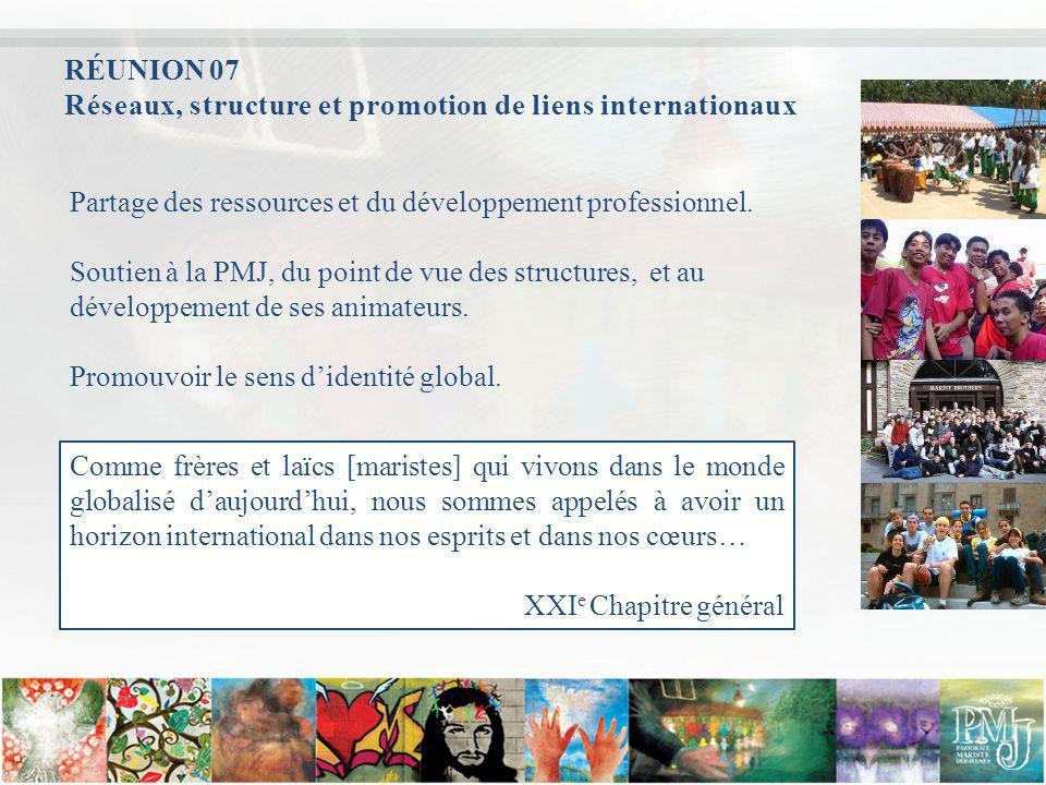 RÉUNION 07 Réseaux, structure et promotion de liens internationaux. Partage des ressources et du développement professionnel.