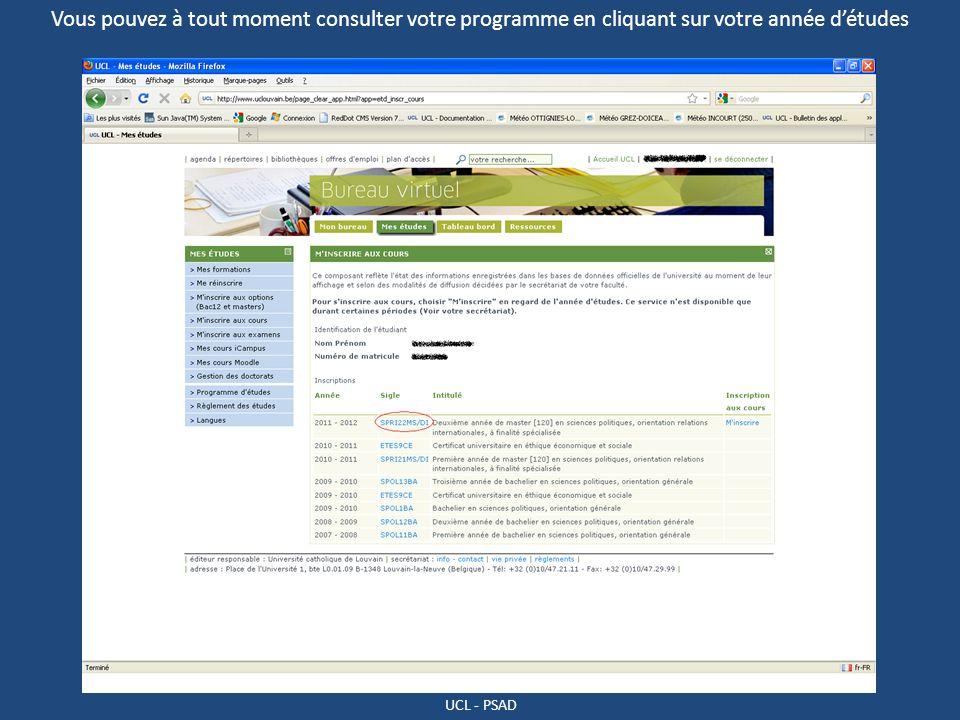 Vous pouvez à tout moment consulter votre programme en cliquant sur votre année d'études