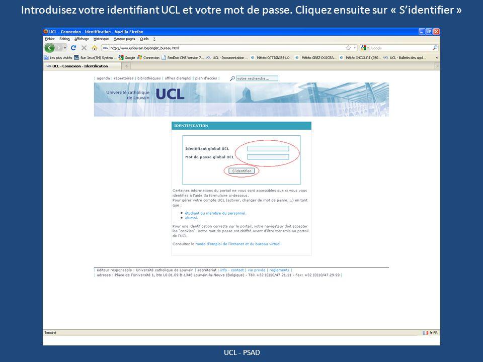 Introduisez votre identifiant UCL et votre mot de passe