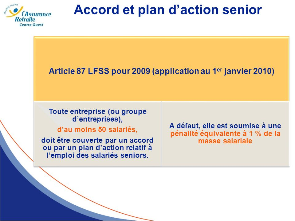 Accord et plan d'action senior