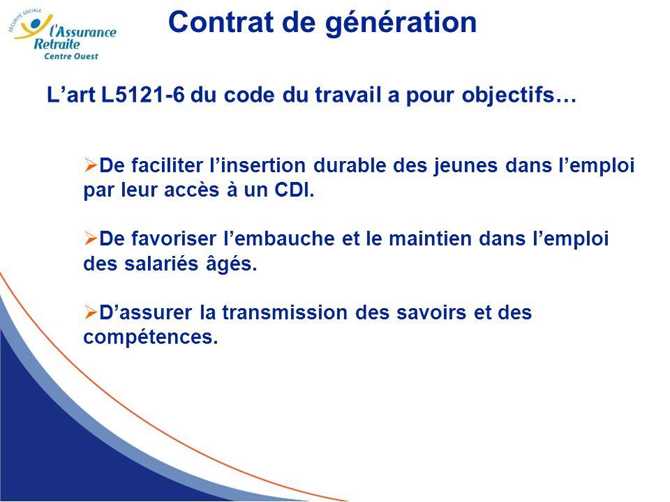 Contrat de génération L'art L5121-6 du code du travail a pour objectifs…