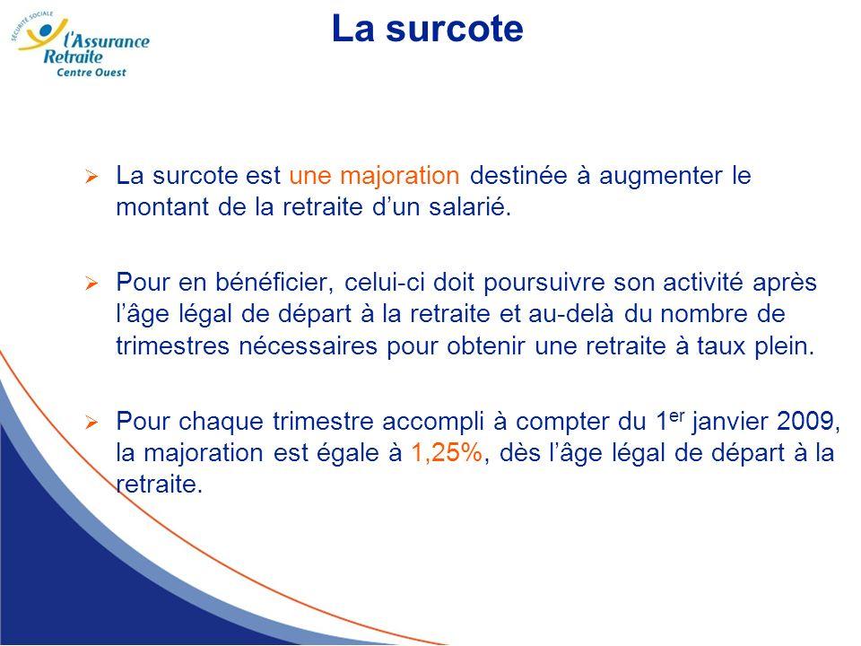 La surcote La surcote est une majoration destinée à augmenter le montant de la retraite d'un salarié.