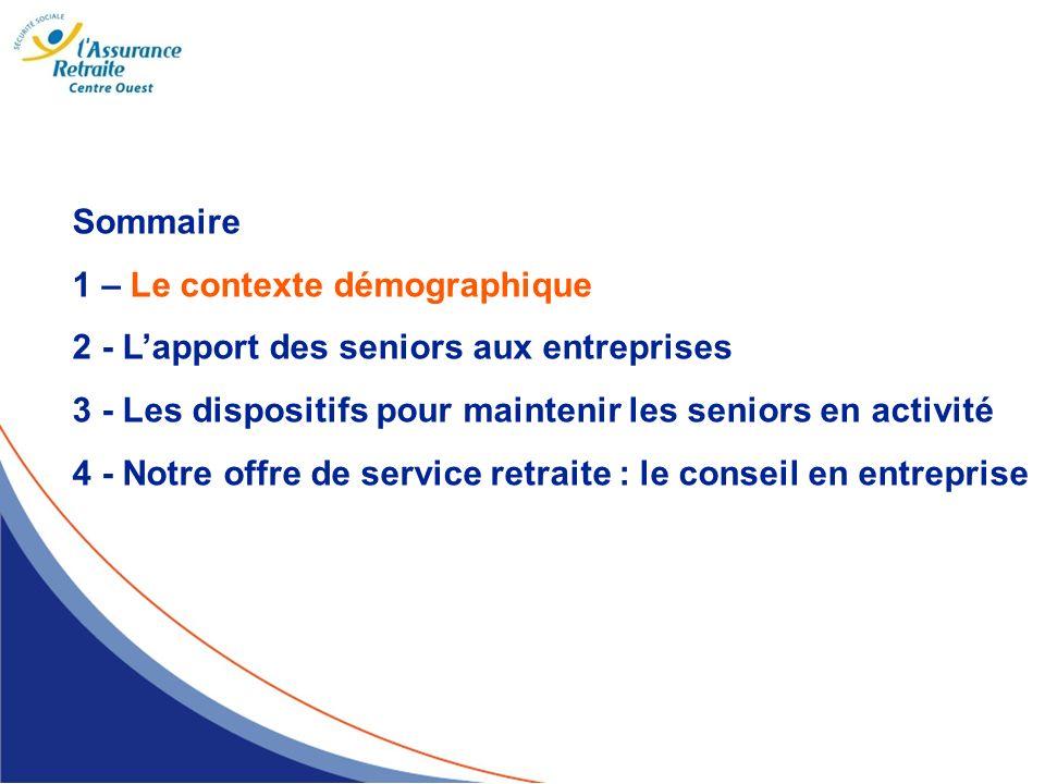 Sommaire 1 – Le contexte démographique. 2 - L'apport des seniors aux entreprises. 3 - Les dispositifs pour maintenir les seniors en activité.